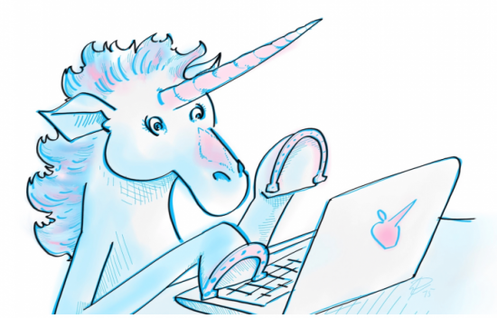 Unicorn marketing agency typing away