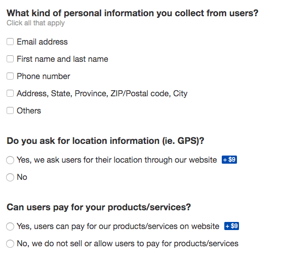 questions asked for privacy policy