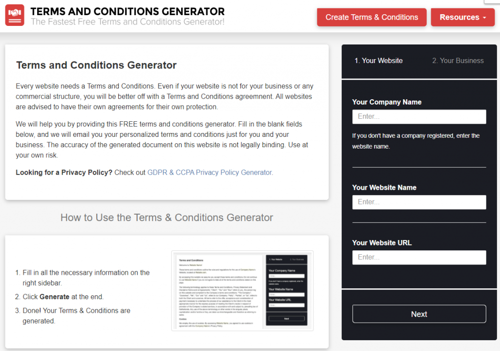 Terms $ Conditions Generator